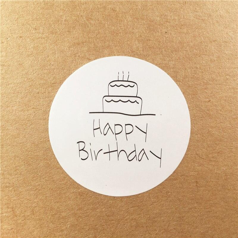 100 шт./лот 3,5x3,5 см с днем рождения Стикеры из крафтовой бумаги для DIY ручной работы подарок торт конфеты бумажные бирки самоклеющиеся наклейк...