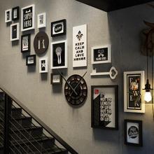 家族フォトフラムリビングルームの装飾コンビネーションフォトフレーム階段壁フォトコンビネーション壁の装飾木製フレーム D40