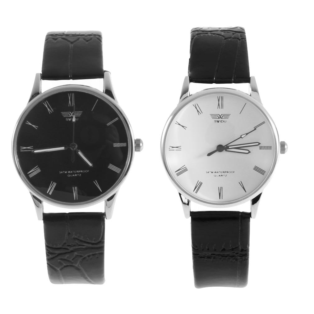 1 Pcs mens watch Luxury Watches PU Leather Stainless Steel Quartz Numeral Couple Wrist Watch Cool Classical Black White