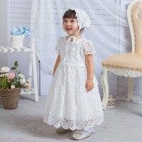 New Long Style Ivory Lace Baptism Dress Newborn Baby Girl Dress 1 Year Birthday Dress Christening