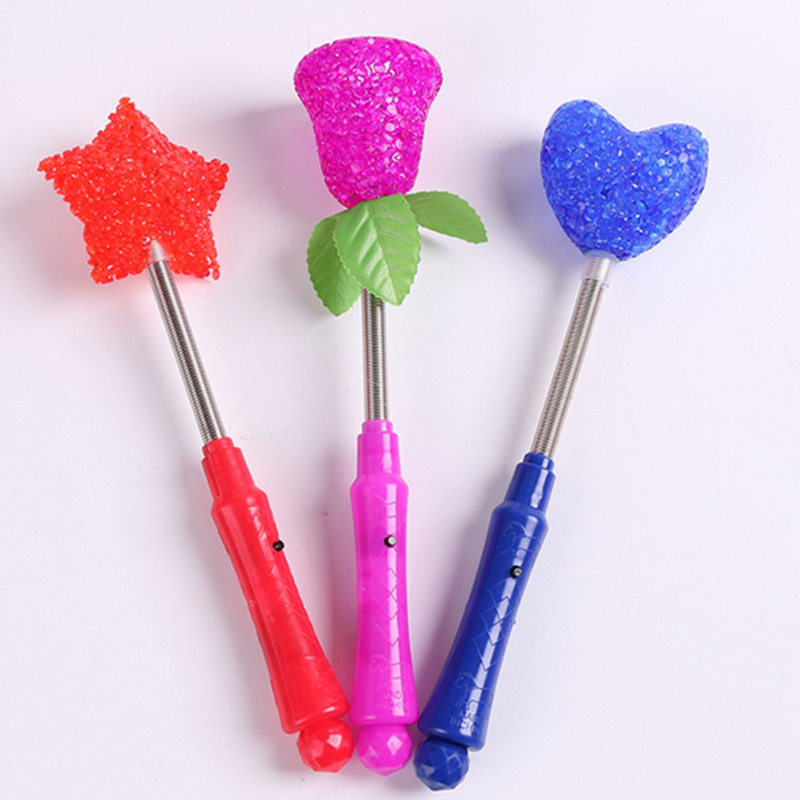 24CM Magic Trick Props Star/Heart/Flower Shape Light Stick Child Night Bed Toys Tricks Popular Classical Toy P15