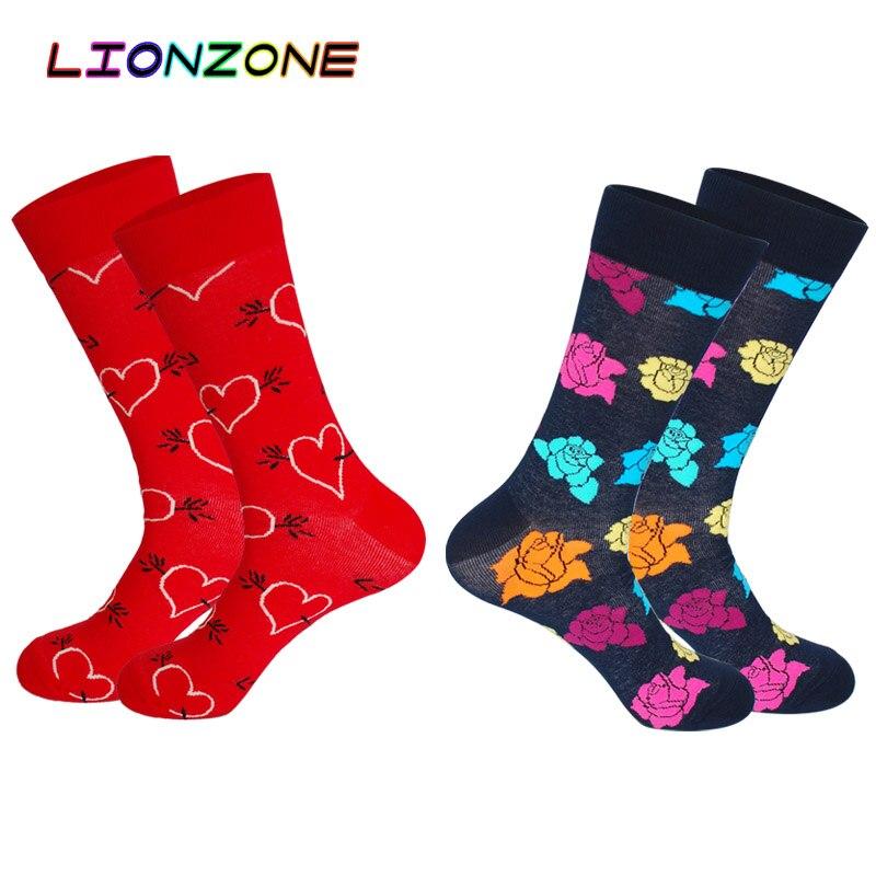 LIONZONE 2Pairs/Lot Floral Arrow Though Heart Burst Mesh Stripes Mens Happy Socks Cotton Gifts For Men Unisex Couple Art Socks