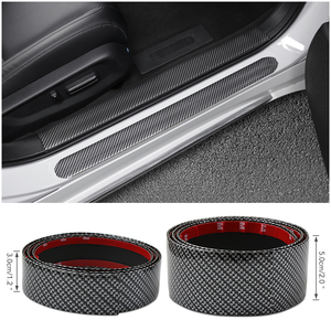 Image 3 - Carbon Faser Gummi Auto Styling Tür Sill Protector Für Honda Civic Accord CRV Fit Renault Peugeot 307 206 407 308 406 Citroen