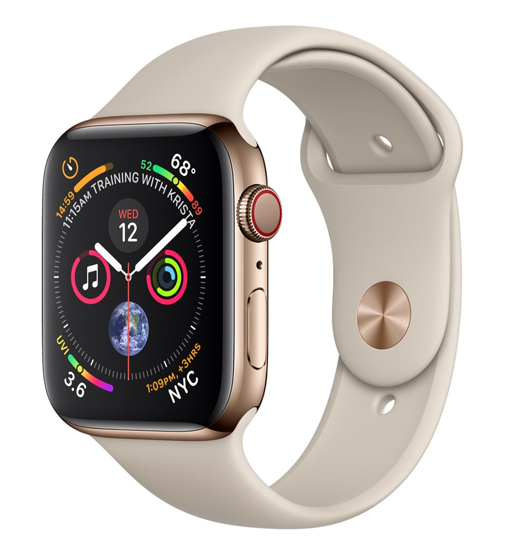 Apple Watch Watch Series 4, OLED, Touchscreen, GPS (satellite), Cellular, 47.9 g, Gold