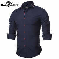 PoniGalant Oxford Shirt 100% Cotton Brand Solid Color Slim Fit Dress Shirt Camisa Masculina Blue Washing Easy Care street wear