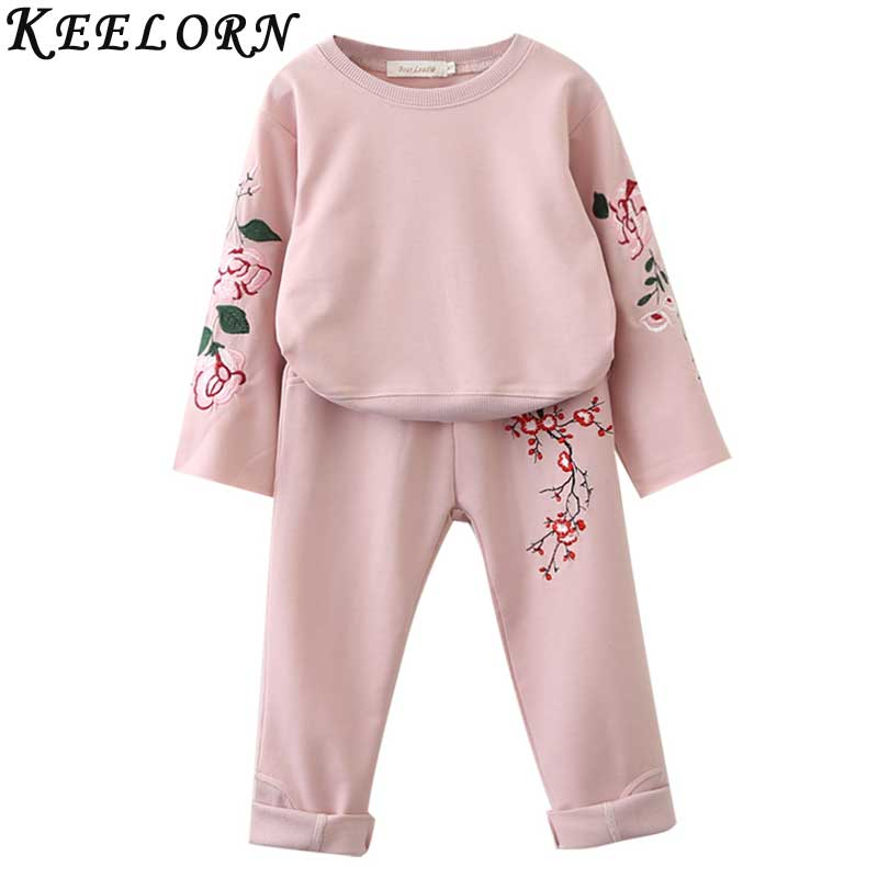 Keelorn Girls Clothing Sets 2018 Autumn Winter Girls Boys Clothes Flowers Embroidery Sweatshirts+Casual Pants 2Pcs for Kids Suit