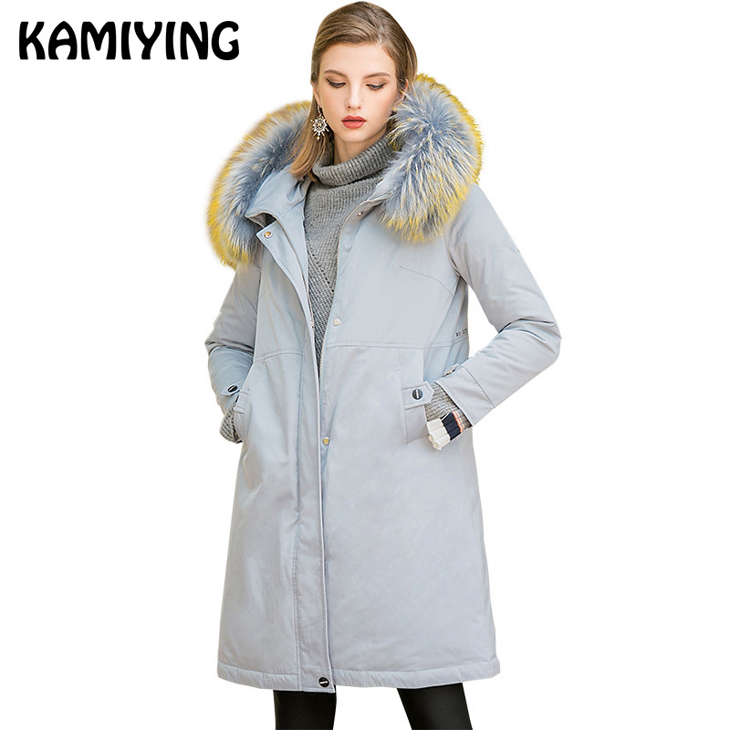 KAMIYING 2018 New Style   Down     Coat   Women's Mid Length Warm Thickening Loose Arrowhead Pattern Big Code Winter   Down     Coat   PKHD707
