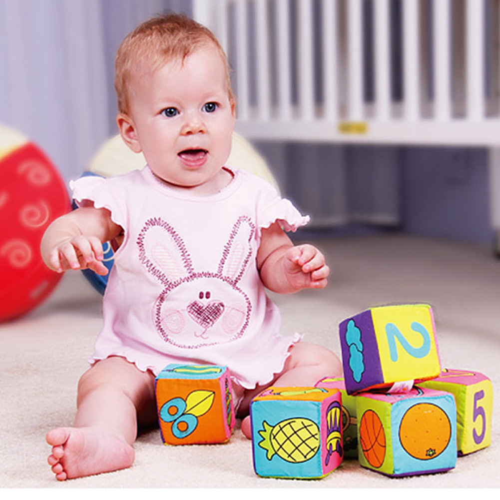 6pcs Set Infant font b Baby b font Soft Cloth Cube Building Blocks Kids Early Educational