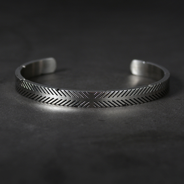 Bracelet en acier inoxydable titane ligne Viking couleur argent Bracelets de manchette hommes femmes manchette bracelet ouvert 3