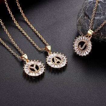 05b1563f81c1 A-Z inicial carta colgante encanto collar de Zirconia cúbica para mujer  Color plata oro Capital carta collar de cadena