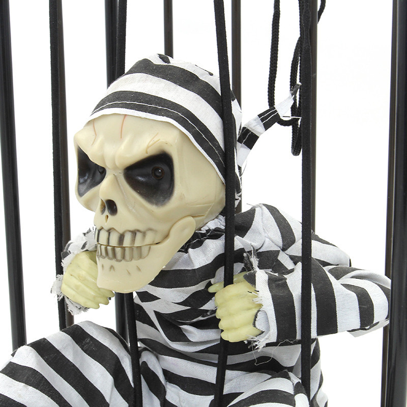 motion sensor hanging caged animated jail prisoner skeleton halloween terror decoration flashing light up prop toy in gags practical jokes from toys
