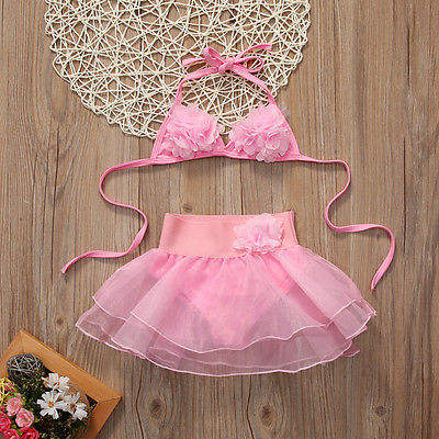 2pcs Baby Set Toddler Kids Baby Girls Clothes Belt Pink Floral V Neck Tankini Bikini+Lace Mini Undearwear Bathing Suit Beachwear