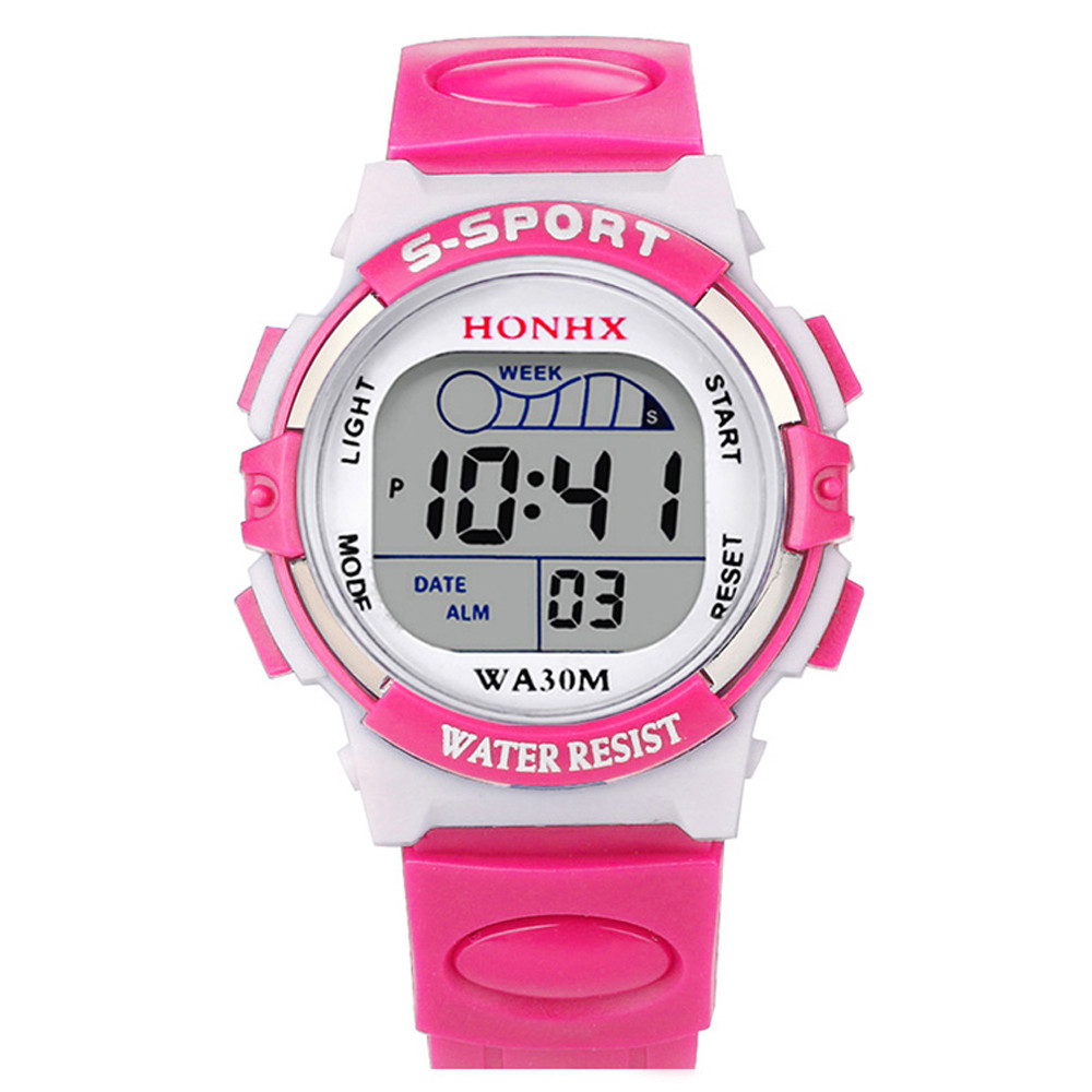 Pink Children Digital Watches Silicone Strap Boys Girls Electronic Watch Alarm Cute Students LED Clock Montre Enfant 533