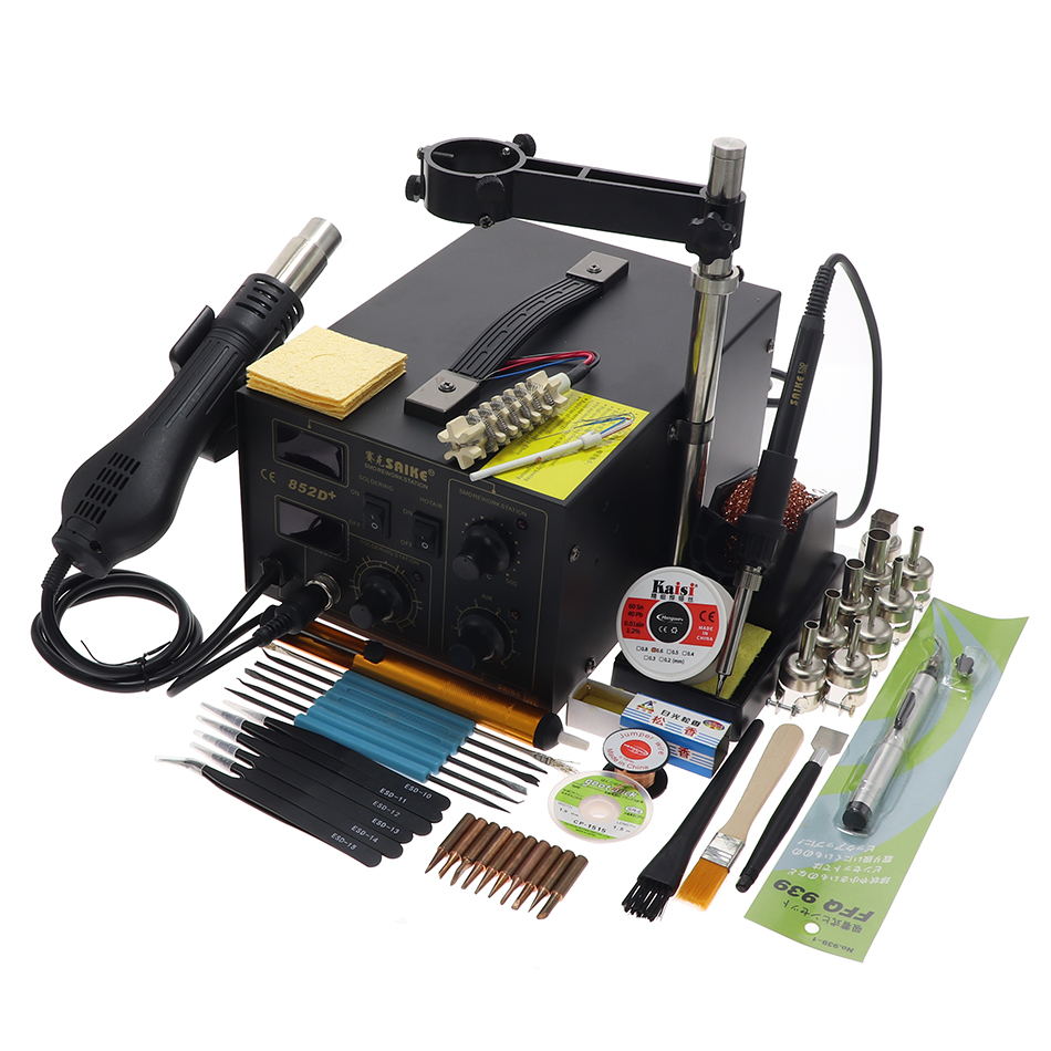 SAIKE 852D 852D+ 2 In 1 SMD Rework Station Hot Air Gun Soldering Station Soldering Station 220V 110V
