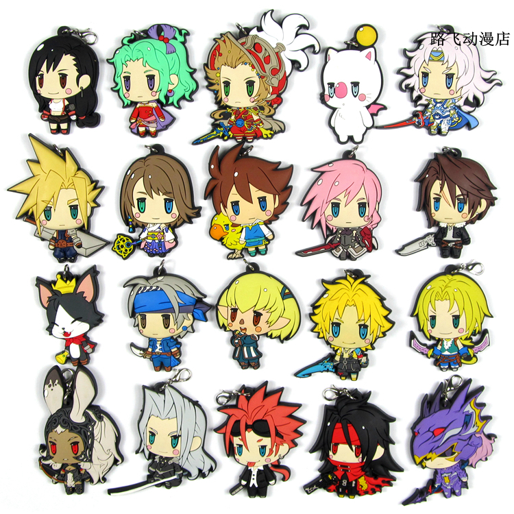 2019 New Arrival Final Fantasy Original Japanese Anime Figure Rubber Mobile Phone Charms Keychain Strap