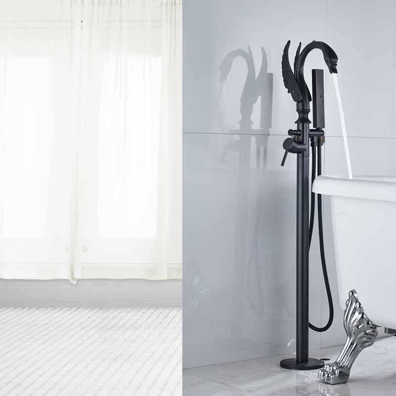 Black Color Free Standing Bathroom Bathtub Faucet + Handheld ...
