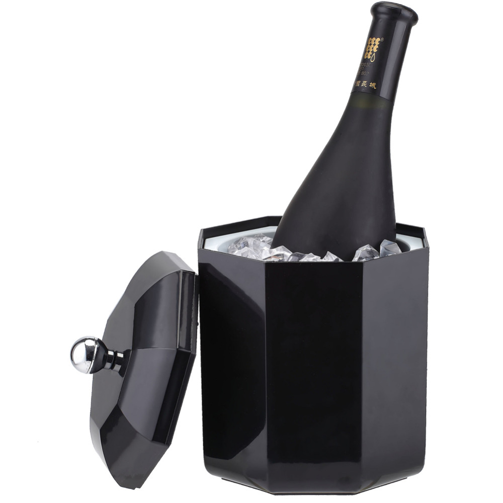 Smad ABS 2L Ice Can Octagon Design Bucket Champagne Wine Drinks Beer Cooler for Bar Party Ice Container for Ice Maker smad 2qt practical ice bucket octagon design wine cooler bar party chiller portable mini dualrable champagne ice can keeper