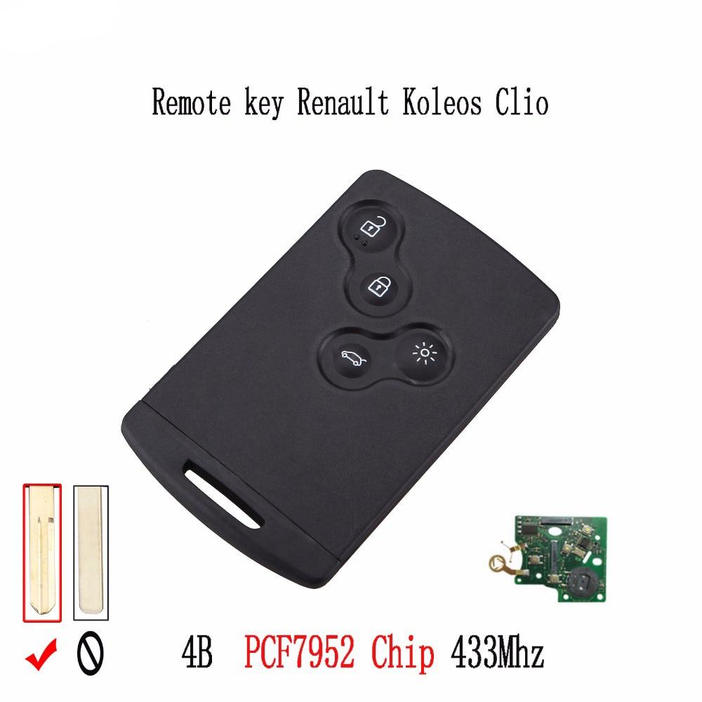 2pcs* 4BT 433Mhz Remote Smart Key Keyless Entry Fob For Renault Megane Scenic Laguna Koleos Clio Complete Keys PCF7952 Chip|keyless entry|smart key fob|remote key fob - title=