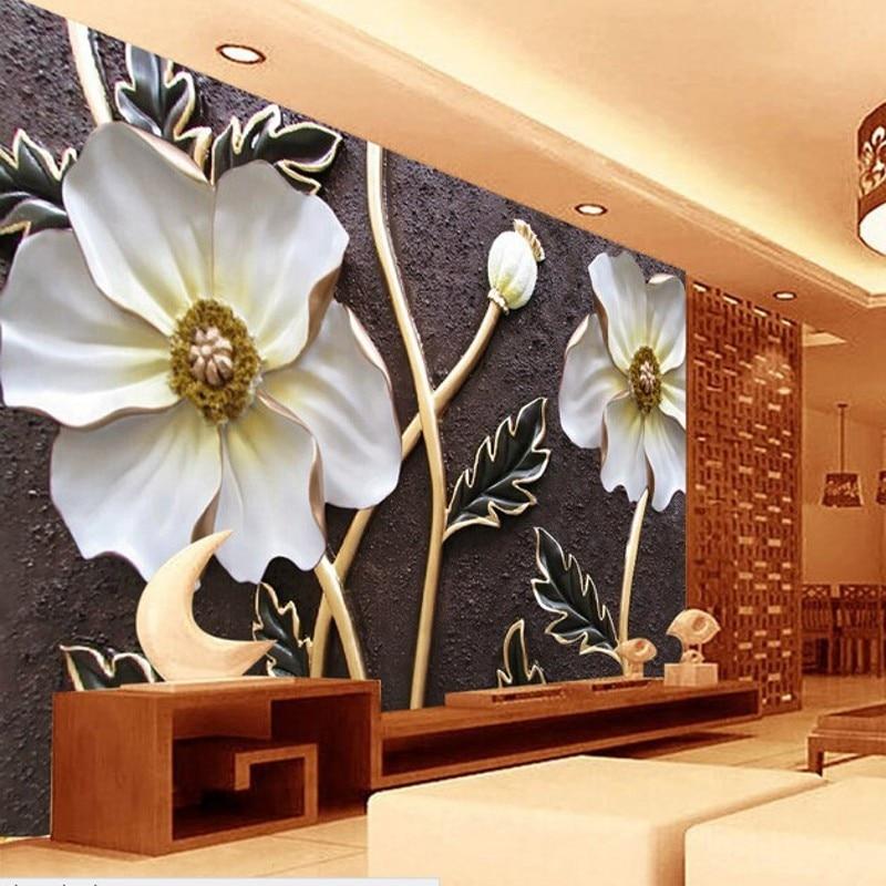 Beibehang Custom wallpaper 3 d relief flower mural bedroom living room background photo wall mural wallpaper papel de parede beibehang custom photo wallpaper mural