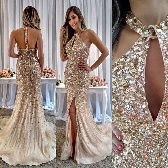 New Arrival Champagne   Prom     Dresses   Long Crystal Beaded Tulle Party Gowns For Women Sexy Backless