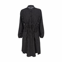 Women Plus Size Plaid Button Emboridery Dress Long Sleeve Waist Tie Two Pocket Dress Large Size Autumn Casual Dress
