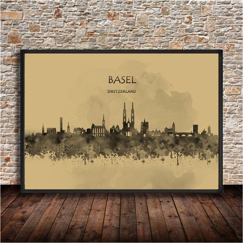 Abstraktes Aquarell City Building BASEL Schweiz Malerei Poster Krafts Papier Wandaufkleber Wohnkultur Wohnzimmer Bar Cafe