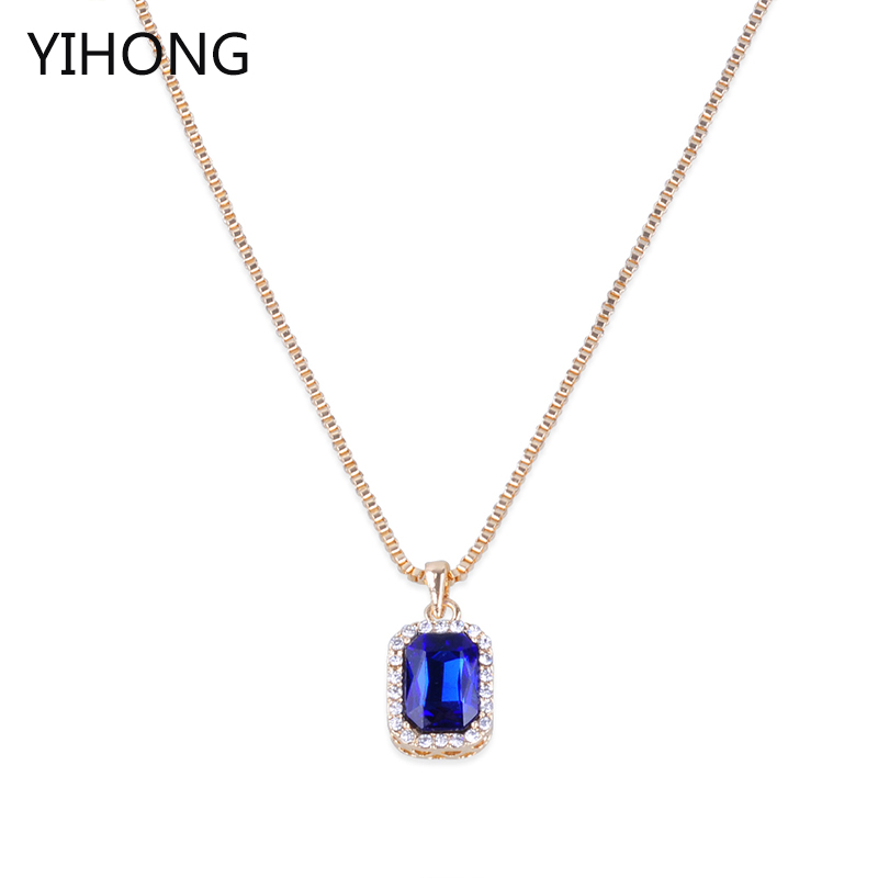 Simple Design Long Chain Necklace Crystal Stone Pendant Sweater Chain for Fashion Women Jewelry
