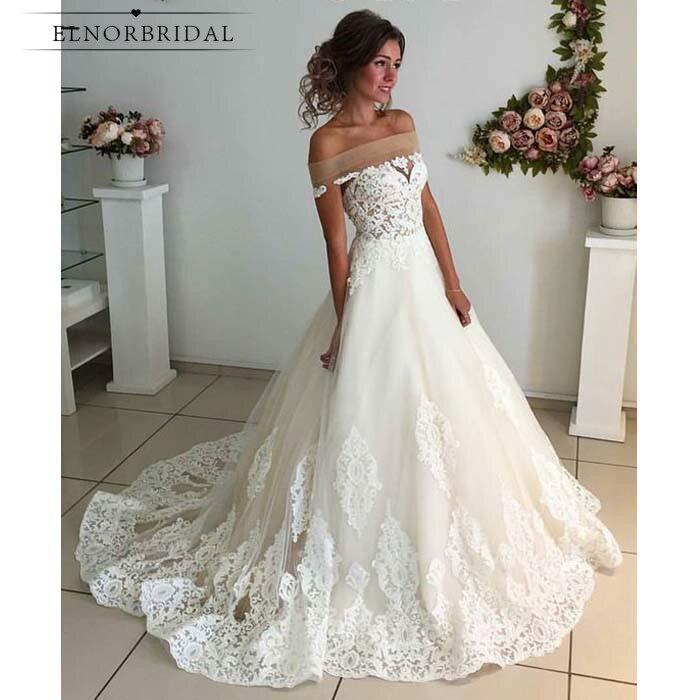134062da3 Elegant Off The Shoulder Wedding Dresses 2019 Robe De Mariee Appliqued  Tulle Lace Bridal Gowns Handmade
