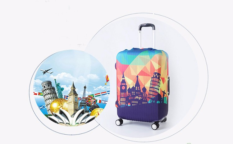 TRIPNUO Thicker Blue City Luggage Cover Travel Suitcase Protective Cover for Trunk Case Apply to 19''-32'' Suitcase Cover 18