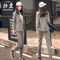 Two pieces set autumn and winter loose small suit pants women's professional suit female OL suit suit