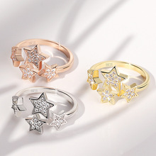 RE New design trendy shining crystal star rings adjustable geometric simple style ring for women girl knuckle ring jewelry R35 trendy simple style round star cuff ring for women