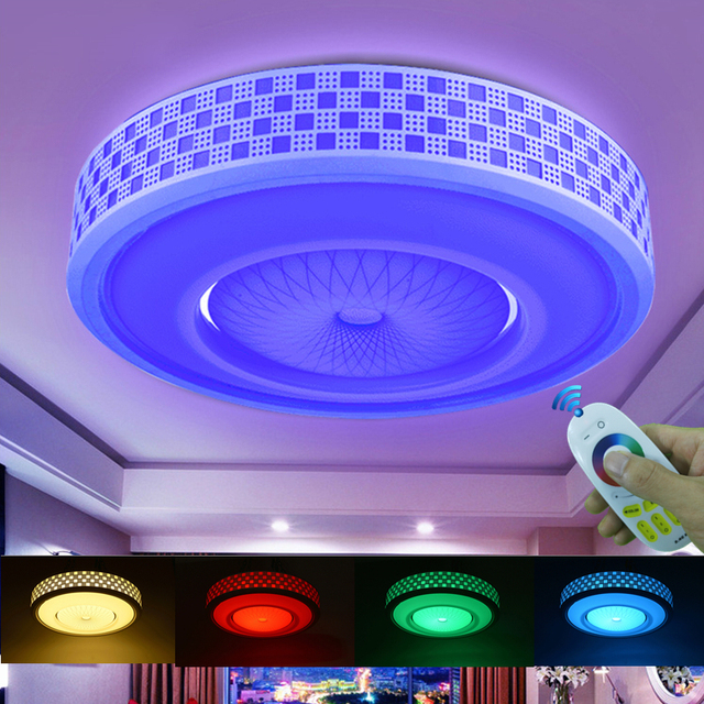 Modern LED Colorful 2.4G Remote Touch Control Ceiling Light 12W 24W 36W RGB+Warm White+Cold White Dimming Light For Livingroom
