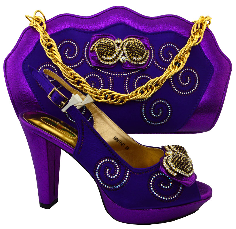ФОТО purple Design Women Pumps Decorated with Diamonds African Wedding Shoes and Bag Set Italian Matching Shoes and Bag Set HFC1-8