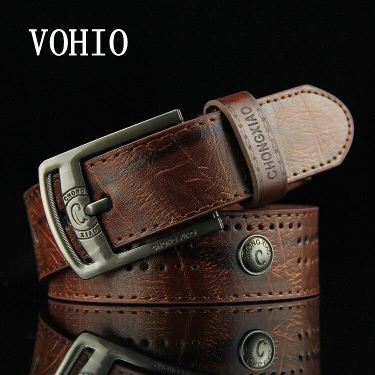 VOHIO 2017 Designer   belt   Men's Hollow rivet ceinture homme punk Cowboy casual han   belt   High fashion quality mens   belt   for jeans