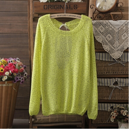 Promotion Autumn NEW BRAND Lady Knitted Sequins Sweater Women Sweater Bowknot Large Size Loose Long Sleeves Pullover 3112