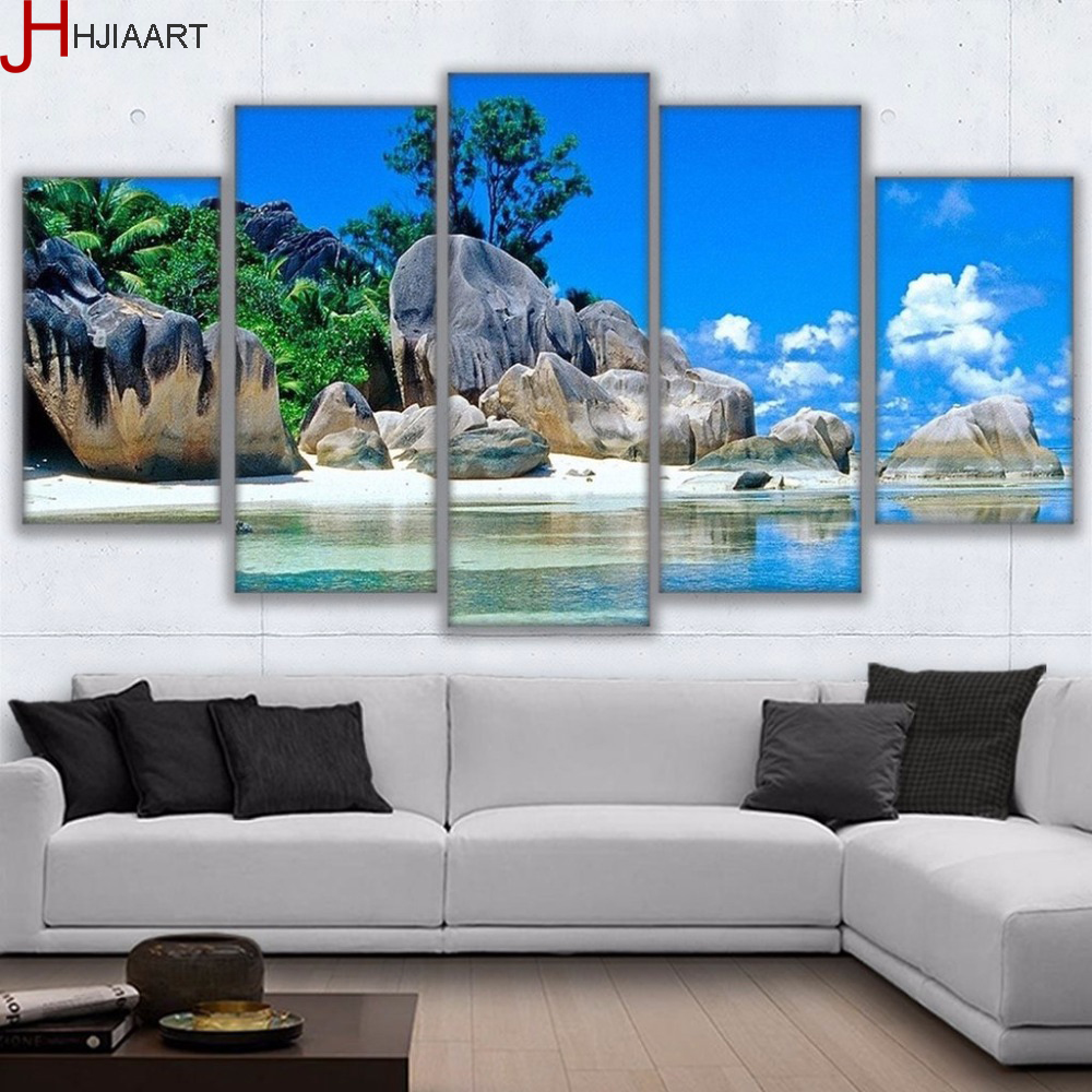 HJIAART Canvas HD Printed Pictures Home Decor 5 Pieces Tropical Island Paradise Painting Wall Art Living Room Beach Poster Frame