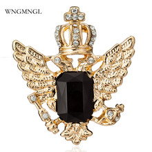 WNGMNGL 2018 New Arrival Bohemia Gold&Sliver Color Crown Crystal Brooch For Women Trendy Collar Pin Corsage Shirt Dress Jewelry