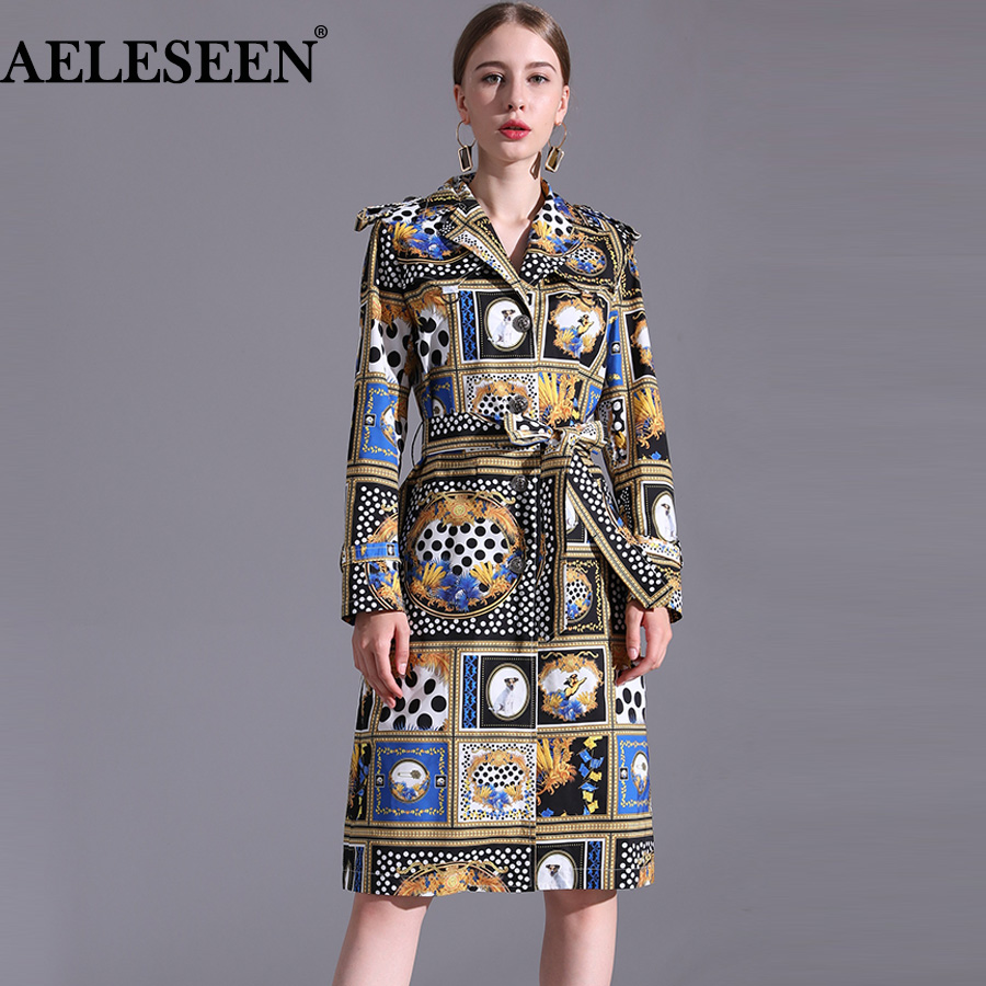 AELESEEN Designer Runway New   Trench   Coat 2018 Fashion Elegant Dog Print Dots long Sleeve Office Luxury UK Windbreaker Women