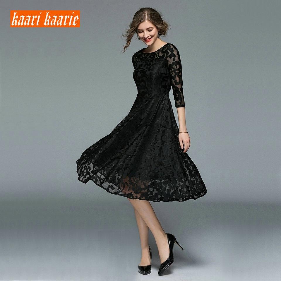 Fashion Women BOHO Black Prom Dresses 2019 Short Evening Gowns O Neck Lace Beach Tea Length