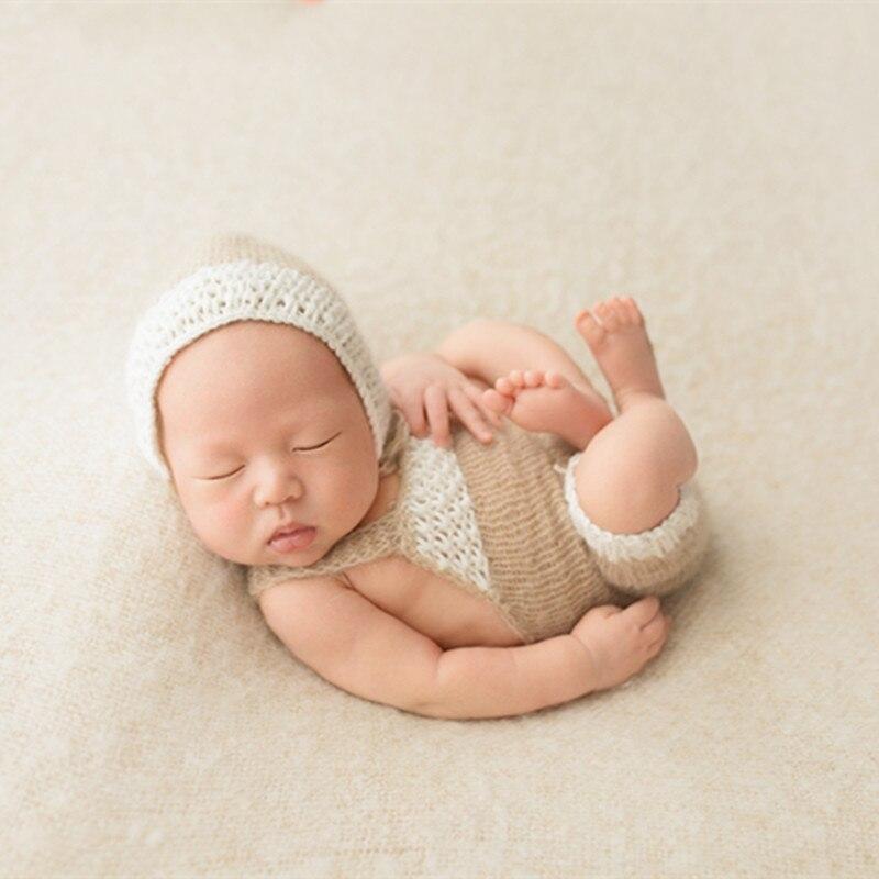 0348642c550 Newborn Lace Hat and Romper Newborn Mohair Overalls Newborn Baby Bonnet  Prop Knit Newborn pants Newbron ...