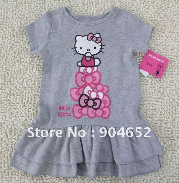 938a54c65 wholesale 2013 dress baby girls Hello Kitty gray dresses kids Summer  clothing knee-length cotton