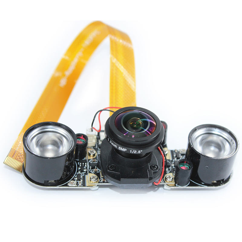 Raspberry Pi 3 B+ IR-CUT Camera 5MP 175 Degree Focal Adjustable Night Vision Camera Module for Raspberry Pi 3 Model B Plus/3/2