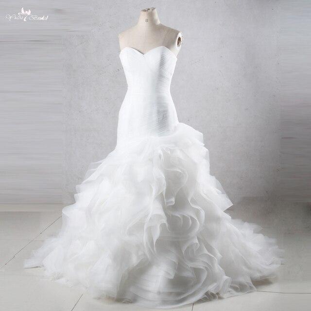 TW0195 vestidos de Boda de Princesa de sirena con falda con volantes vestidos de novia baratos hechos en China