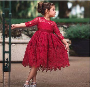 De Manga Rojo Princesa Encaje Larga Elegante Vestido Vestidos 8wP0Onk