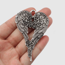 цена 2Pcs Antique Silver Rose Angel Wings Feather Charms Pendants For Necklace Fashion Jewelry Findings Making онлайн в 2017 году
