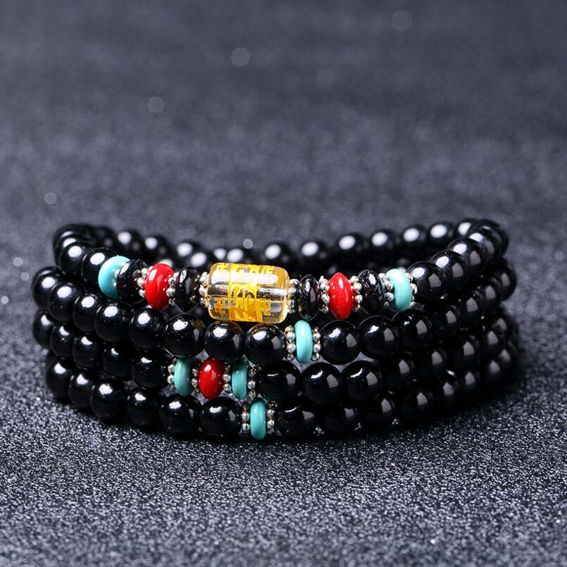 DIEZI Crystal Tibetan Buddhist Men 6mm Black 108 Natural Stones Beads Bracelets & Bangles Multilayer Bracelet For Women Jewelry
