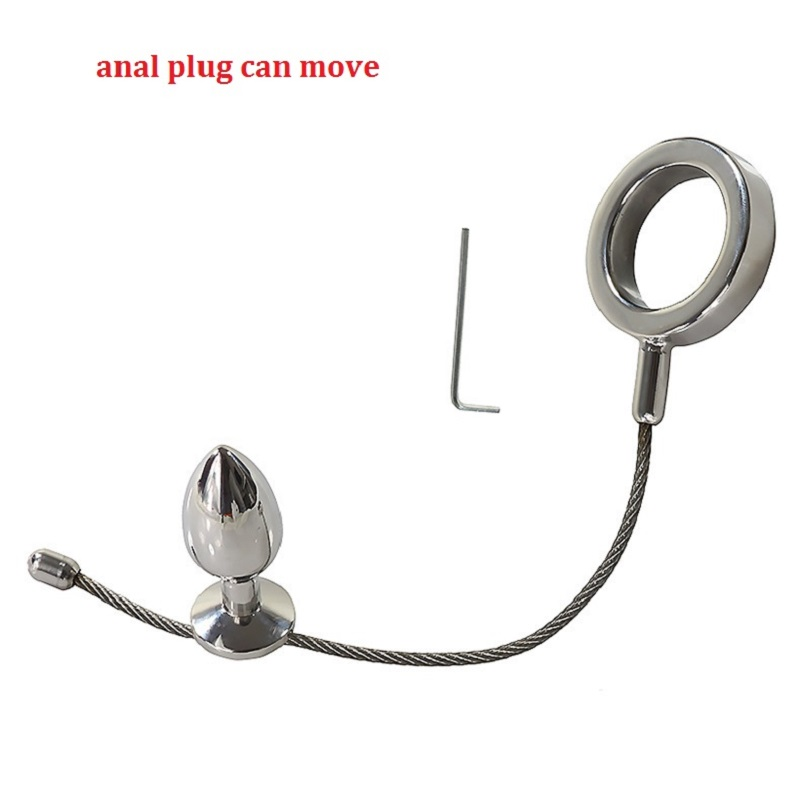 Male  cock ring with can move anal plug sex toys anal plug steel anal plug penis rings cock rings sex toys for man lovetoy 20 4 5cm big size penis sleeve with cock ring increase length and thickness sex toys for couple adult sex product condom