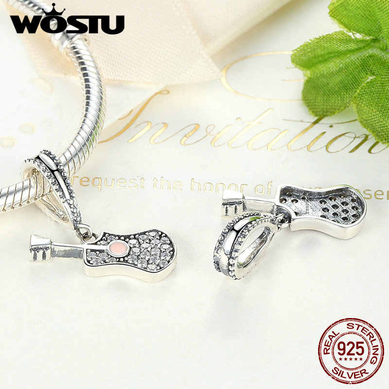 Authentic 100% 925 Sterling Silver Sparkling Guitar Charm Dangle With Clear CZ Fit Original WST Bracelet Necklace Jewelry