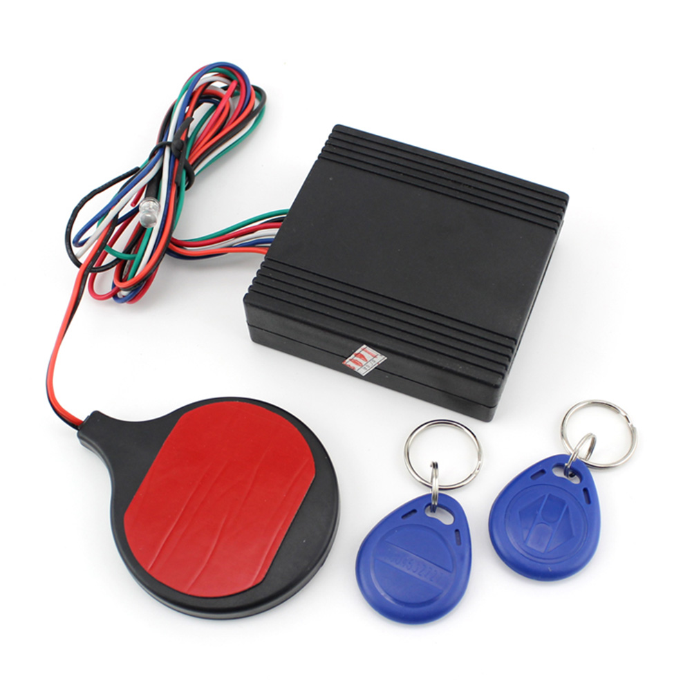 4Pcs RFID Motorcycle Engine Theftproof Device Set Alarm System Invisible Smart Key Car Bicycle Induction ID Card Accessories