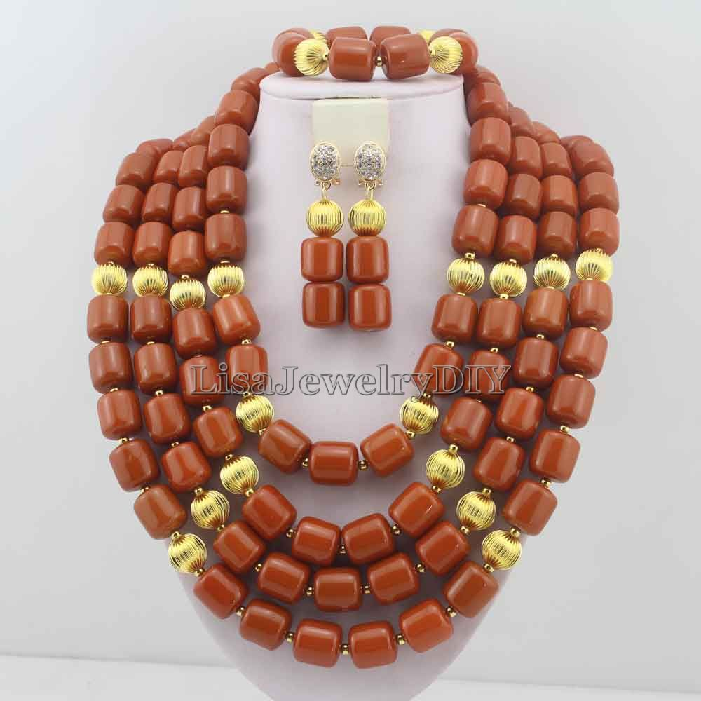Splendid African Coral Beads Jewelry Sets Nigerian Wedding African Coral Beads Jewelry Set HD6083
